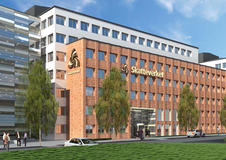 Illustration över Skatteverkets nya byggnad.