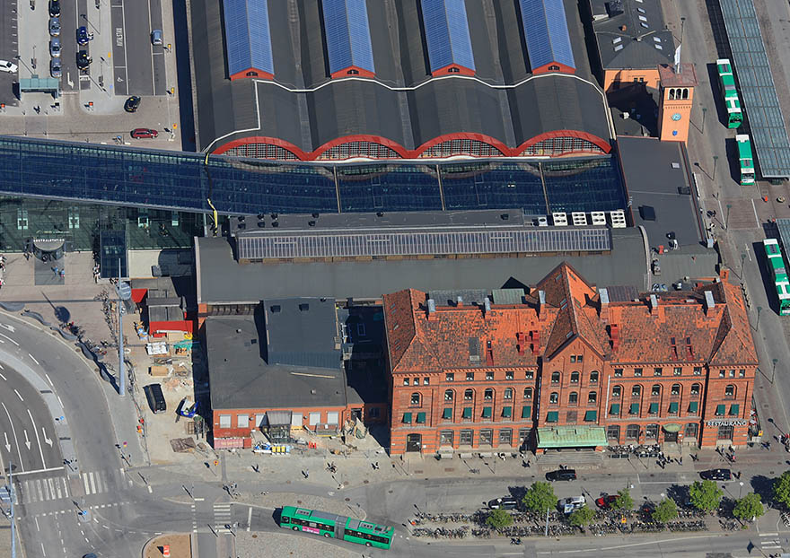 Flygfoto över Malmö Central