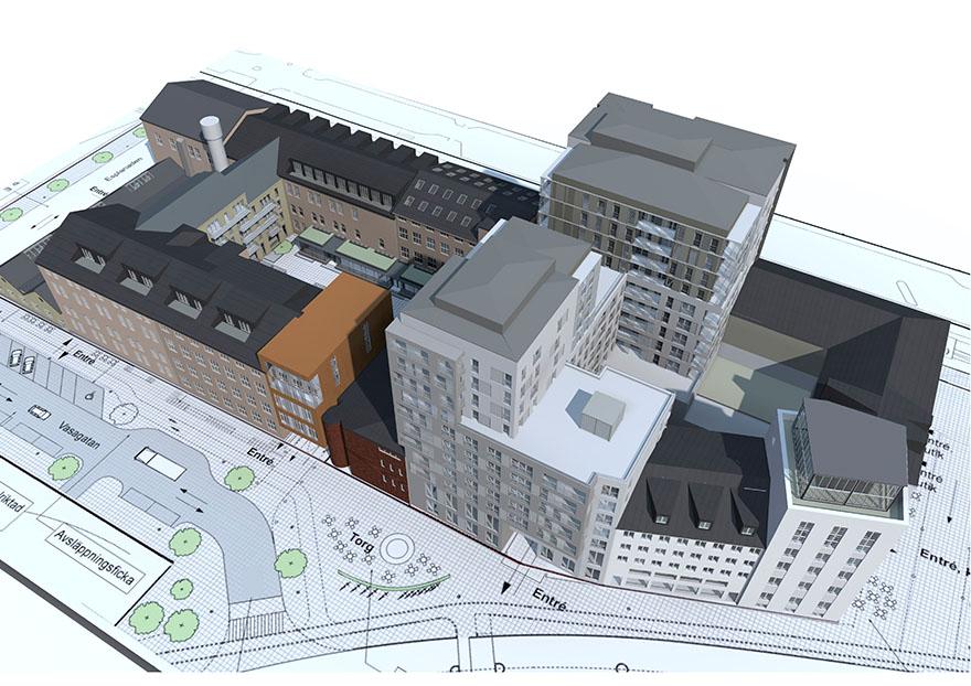 Illustration uppifrån över den nya bebyggelsen i kvarteret